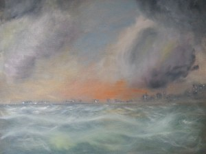 My first Oil on canvas sea scape. I am painting whilst writing the ETERNAL D.. So must be related mmm I think !!