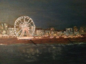 Competed this oil on Saturday. Its 24 by 30 again. This is the seafront of my dear home and hope Brighton UK