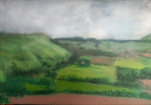 Trying greens Oil paint on canvas A2 size somewhere near Brighton UK