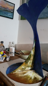 In process of preparing for Whale Fest Acrylic on Metal
